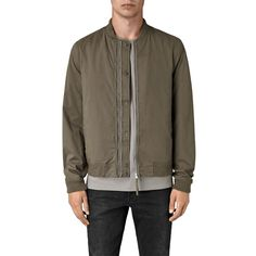 Allsaints Oslo Jacket ($199) ❤ liked on Polyvore featuring men's fashion, men's clothing, men's outerwear, men's jackets, dark army green, mens green military jacket, mens olive green jacket, mens army green jacket and mens olive jacket