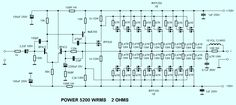 This is the circuit design of Mosfet power amplifier 5200W RMS, the schematic is for single channel. The circuit uses 16x