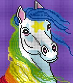 Starlite From Rainbow Brite (Quadrat) von Maninthebook on Kandi Patterns - Kreuzstich Pony Bead Patterns, Kandi Patterns, Perler Patterns, Beading Patterns, Unicorn Cross Stitch Pattern, Cross Stitch Patterns, Perler Bead Art, Perler Beads, Cross Stitching