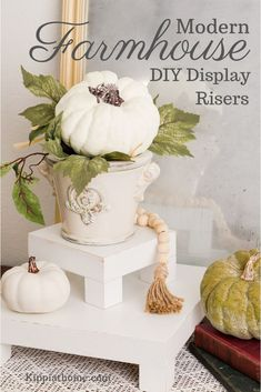 A rustic riser is perfect for vignettes, holiday decorating and everyday displays. These easy to fol Home Decor Styles, Cheap Home Decor, Home Decor Accessories, Farmhouse Style, Farmhouse Decor, Modern Farmhouse, Wood Display, Display Stands, Display Shelves