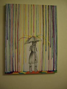 Art ---- rain on a sketch. love this idea! But no clue how to make it 'bounce' off the umbrella!Crayon Art ---- rain on a sketch. love this idea! But no clue how to make it 'bounce' off the umbrella! Crayon Crafts, Crayon Art, Crayon Canvas, Rain Painting, Painting & Drawing, Umbrella Painting, Dot Painting, Melting Crayons, Art Plastique
