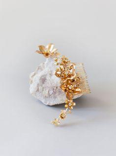 Style 603 - Floral Bridal Hair Comb  - © SIBO Designs Bridal Adornments & Veils www.sibodesigns.com