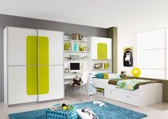 Best This stylish teenage bedroom from Rauch moebel is the sort of bedroom all us wish we had when we were young The Utah es in all white lime green and