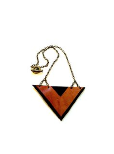 Leather Chevron Triangle Necklace by CicadaLeatherCompany on Etsy