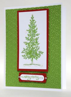 Glittery Decorated Green Christmas Tree With Red Trim Handmade Card | cardsbylibe - Cards on ArtFire