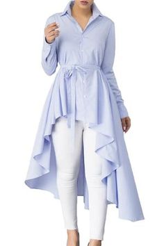 Stylish Pink Striped Lapel Shirt Belted Her Fashion Blouse Top – HisandHerFashion.com Collar Shirts, Shirt Blouses, Outfits Con Camisa, Long Sleeve Tops, Long Sleeve Shirts, Long Tops, Women's Tops, Long Shirts, Gris Rose