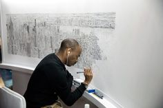 The British artist Stephen Wiltshire is able to draw complex scenes entirely from memory.  He draws the New York City's skyline after a 45-minute helicopter ride around Manhattan.