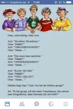 Oma beim Arzt Get Happy, Funny Facts, Lol, Wisdom, Cartoon, Comics, Memes, Words, Pictures
