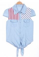 Blue Sleeveless Stars Striped Print Denim Blouse $22.26
