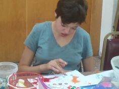 Making art at Shutaf's after-school program.