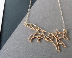 Geometric fox necklace. $64.00.