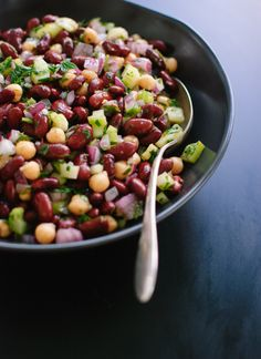 Try this Mediterranean bean salad with a side of hummus and lots of pita bread.