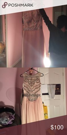 Prom dress Champagne nude color with beautiful jeweled bodice. Very long and does have train. Never got to wear it , wore a different dress to prom. Dresses Prom