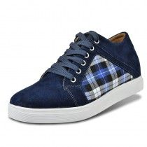Blue Increase height footwear suede leather casual shoes Korea style grow taller 6cm / 2.36inches