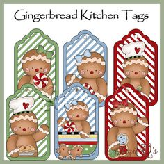Gingerbread Kitchen Tags - Set of 6 with 2 bonus tags - CU Digital Printable - Immediate Download (You can purchase)