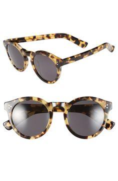957d8c713f  Tortoise  Illesteva Leonard II Round Mirrored Sunglasses Pink Sunglasses