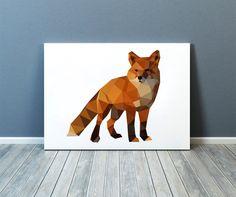 Fox poster Animal poster Nursery art Colorful decor TOA39