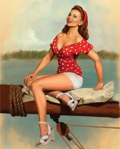 Sittin' on a dock in a bay ~ Vintage pin-up, ca. 1940s.