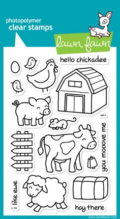 Oozak.com | LAWN FAWN | LAWLF355 | LAWN FAWN Clear Stamps - CRITTERS ON THE FARM, 4x6
