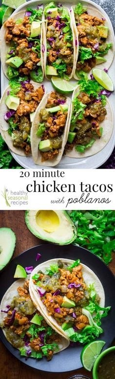 20 Minute Ground Chicken Tacos with Poblanos- they're super fast and super flavorful! No need for cheese. Serve them on soft corn tortillas- and they're gluten-free! @Healthyseasonal