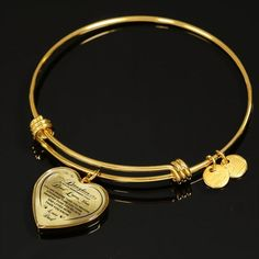 To My Daughter Dad Loves You Heart Bangle Bracelet