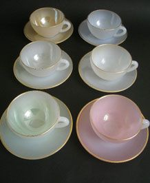 Sweet love...    VINTAGE ARCOPAL FRANCE HARLEQUIN LUSTRE CUPS AND SAUCERS.