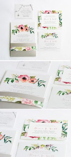 Floral Watercolor wedding invitations ideas. We did a envelopment that folds over 1/3 of the way up the invitation and th… Photo Wedding Invitations, Floral Wedding Stationery, Wedding Invitation Inspiration, Wedding Stationary, Wedding Invitation Design, Watercolor Invitations, Protea Flower, Wedding Illustration, Flower Invitation