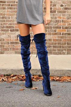 Electric Blue Velvet Over The Knee Boot