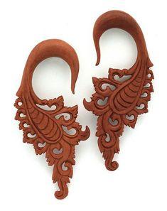 6G 4MM Hanging Sawo Wood Organic Tribal Wings Hook Flower Floral Ear Gauge Plug Ornate (SOLD AS PAIR) $22.99