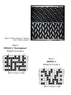 Mosaic Knitting Barbara G. Walker (Lenivii gakkard) Mosaic Knitting Barbara G. Fair Isle Knitting Patterns, Knitting Charts, Afghan Crochet Patterns, Knitting Stitches, Knitting Designs, Knit Patterns, Knitting Projects, Stitch Patterns, Moss Stitch