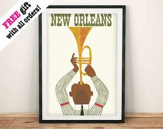 JAZZ TRUMPET POSTER: Vintage New Orleans Travel Advert Print