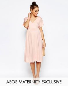 2bb59ee162338 ASOS Maternity Midi Dress With Flutter Sleeve Shower Dresses, Petite Maternity  Clothes, Asos Maternity