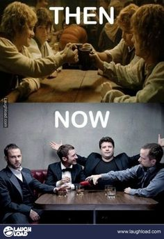 Lord of the Ring Then and Now - In my mind, these guys are best friends, and always will be.  :)