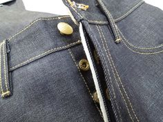 Selvage fly detail on limited edition raw plant indigo maverick jean