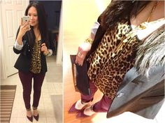 Leopard, burgundy, and a black blazer