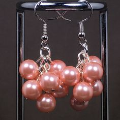 Pink Glass Pearl Earrings - Valentine's, Gift, Girlfriend, Wife, Love, Present, Work, Casual, Evening, Matching Bracelet Available in Shop by JLDesignsStudio on Etsy
