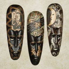 African Wall Decor aboriginal masks, wood carvings, wall decor, painted mask, bali