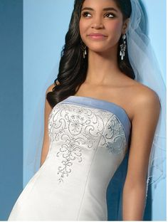 blue sash wedding dress - Google Search