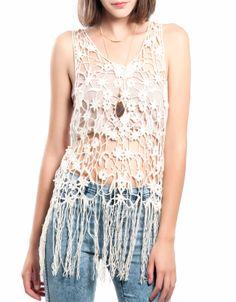 Camiseta tirantes crochet flecos Double Agent 19,99€ www.doubleagent.es #fashion #clothes #ropa