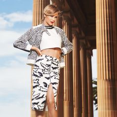 Jennifer Hawkins wears MANNING CARTELL Triangularity Jacket and Abstracted Fox Pencil Skirt for the Myer AW14 campaign