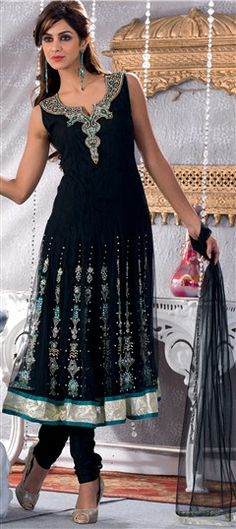 91012, Anarkali Suits, Salwar Kamez, Net, Crepe, Machine Embroidery, Stone, Black and Grey Color Family