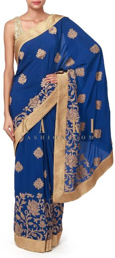 Buy Online from the link below. We ship worldwide (Free Shipping over US$100). Product SKU - 310833. Product Price - $149.00. Product link - http://www.kalkifashion.com/royal-blue-saree-enhanced-in-weave-embroidery-only-on-kalki.html
