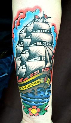 Old School Nautical Tattoo by Stoty Tattooer - http://worldtattoosgallery.com/old-school-nautical-tattoo-by-stoty-tattooer/