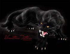 Nadel gefilzte Wolle Tier Skulptur schwarzen Jaguar (Black Panther): Noir