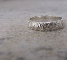 Silver Floral Ring Silver Wedding Ring Wedding Band by SilverSmack, $38.00