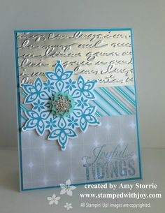 Festive Flurry & script embossing folder...beautiful in silver.
