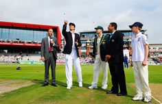 Alastair Cook tosses the coin, England v Australia, 3rd Investec Test, Old Trafford, 1st day, August 1, 2013