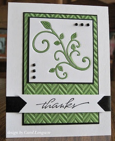 handmade thank-you card ... white and green with black accents ... great example of die cut negative space filled by the same die cut in another color ... like the design of this card ...