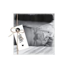 Geboortekaartje met foto-papieren label-vintage-zwart-130x130