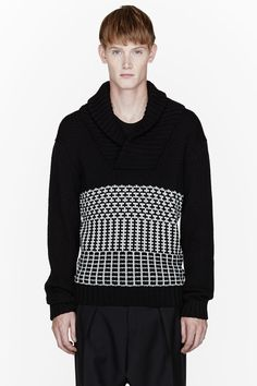PUBLIC SCHOOL Black knit patterned oversize sweater